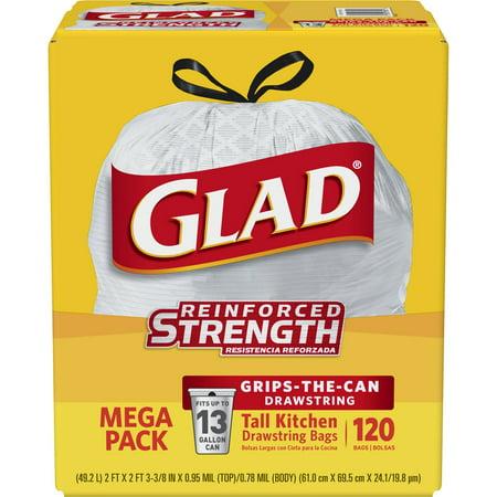 Glad Tall Kitchen Drawstring Trash Bags - 13 gal - 120 ct