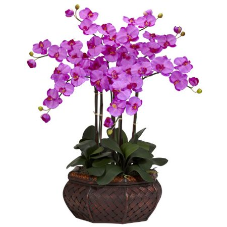 Nearly Natural 1201-OR Large Phalaenopsis Silk Flower Arrangement Orchid - image 1 de 1