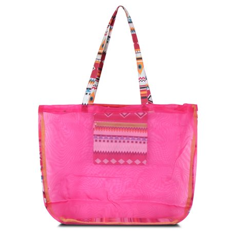 Waterproof Beach Mesh Picnic Hand Bag by Zodaca Shoulder Tote Carry Bag for Shopping Outdoor Activity - Pink Aztec with Green