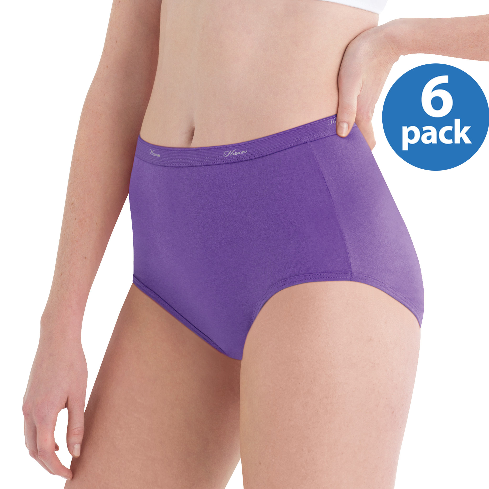 Hanes Women's Cotton No Ride Up Assorted Dyed Briefs 6-Pack