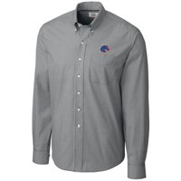 Boise State Broncos Cutter & Buck Epic Easy Care Gingham Big & Tall Long Sleeve Button-Down Shirt - Heather Charcoal