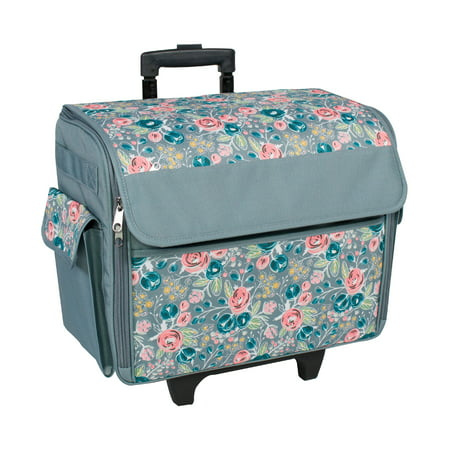 Everything Mary Rolling Sewing Machine Tote, Floral - Sewing Machine Case Fits Most Standard Brother & Singer Sewing Machines, Sewing Bag with Wheels & Handle