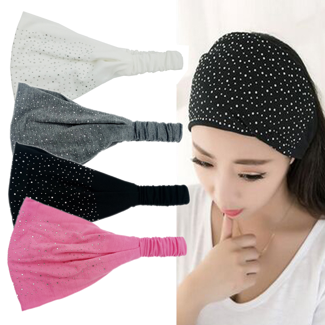 Coxeer 4PCS Womens Wide Headbands Rhinestone Elastic Bandana Headbands Hair Accessories Sports Wide Heandands