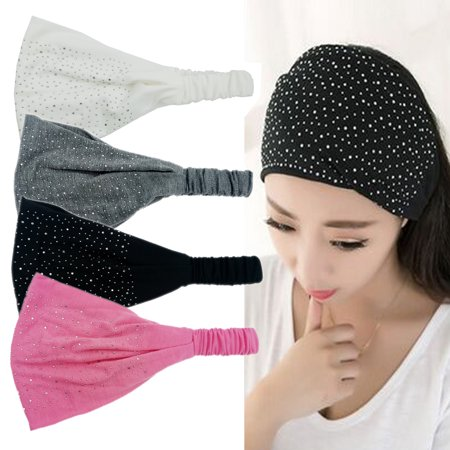 Coxeer 4PCS Womens Wide Headbands Rhinestone Elastic Bandana Headbands Hair Accessories Sports Wide Heandands