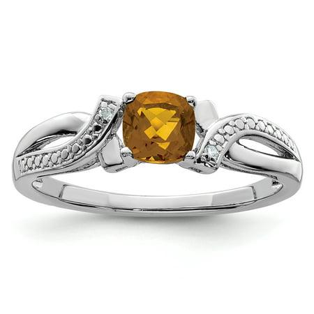 925 Sterling Silver Whiskey Quartz Diamond Band Ring Size 7.00 Gemstone For Women