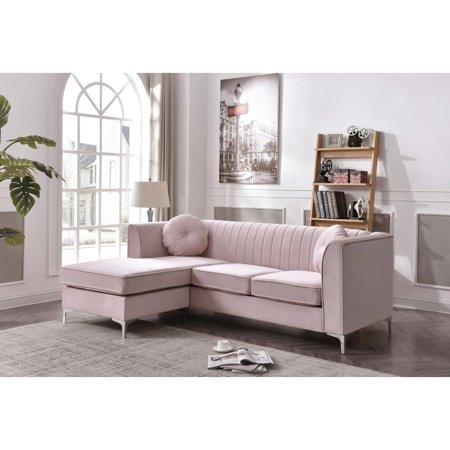 Glory Furniture Delray G794b Sc Sofa Chaise Pink Walmart Com