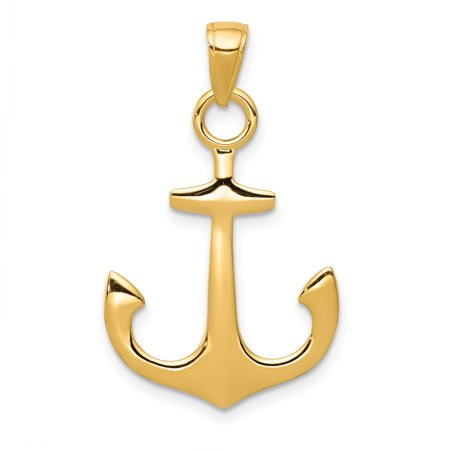 14k Yellow Gold Nautical Anchor Ship Wheel Mariners Pendant Charm Necklace Sea Shore Man Gift For Dad Mens For Him 14k Gold Nautical Anchor