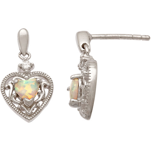 CZ and Simulated Opal Milgrain Sterling Silver Heart Earrings