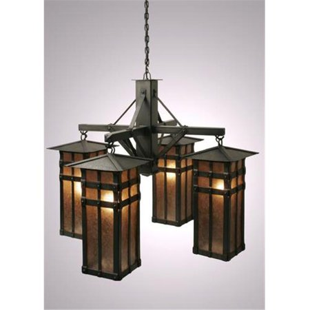 Steel Partners Lighting 2071 Chandelier San Carlos 100 Wattage  Old Iron Finish White Mica