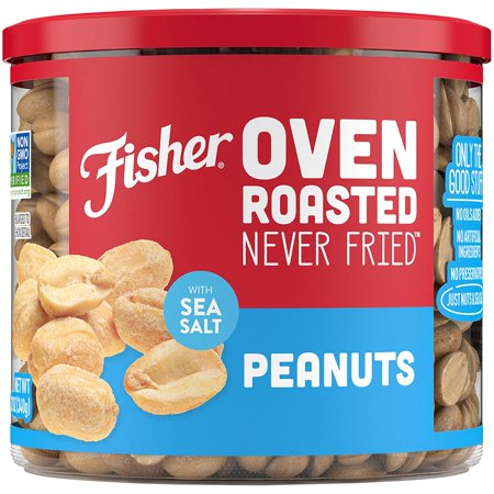 Fisher Snack Oven Roasted Never Fried Peanuts With Sea Salt, 12 oz