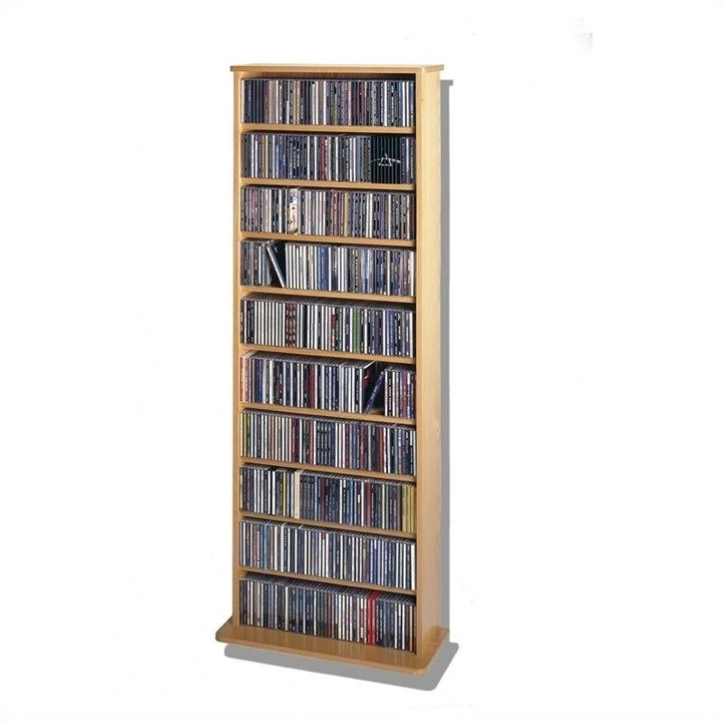 "Leslie Dame 62"" Veneer Media Storage Rack in Oak"
