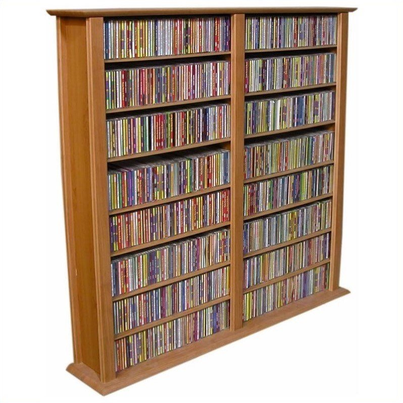 Venture Horizon Media Storage Tower-Regular Double, 52 x 9-1\/2 x 50, Walnut