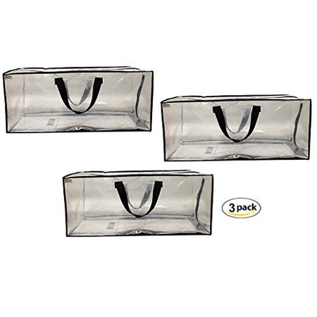 Ideal Bag - Earthwise Clear Storage Bags Heavy Duty Extra Large Transparent Moving Totes w/Zipper closure Reusable Backpack Carrying Handles - Compatible with IKEA Frakta Hand Carts (3 Pack)
