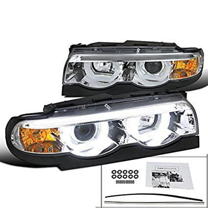 BMW E38 7-Series 740i 740i Chrome Clear Dual Halo LED DRL Projector Headlights