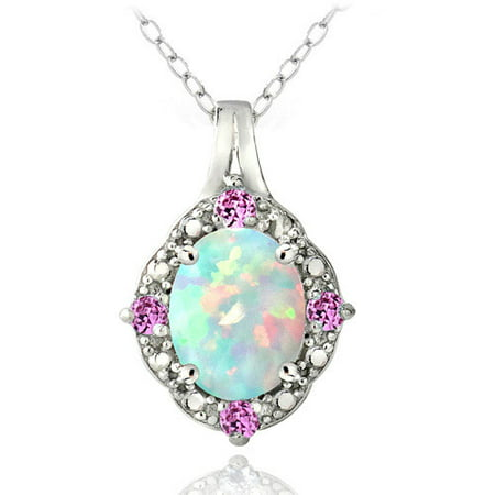 Created Opal and Pink Sapphire Diamond Accent Sterling Silver Oval Necklace, 18