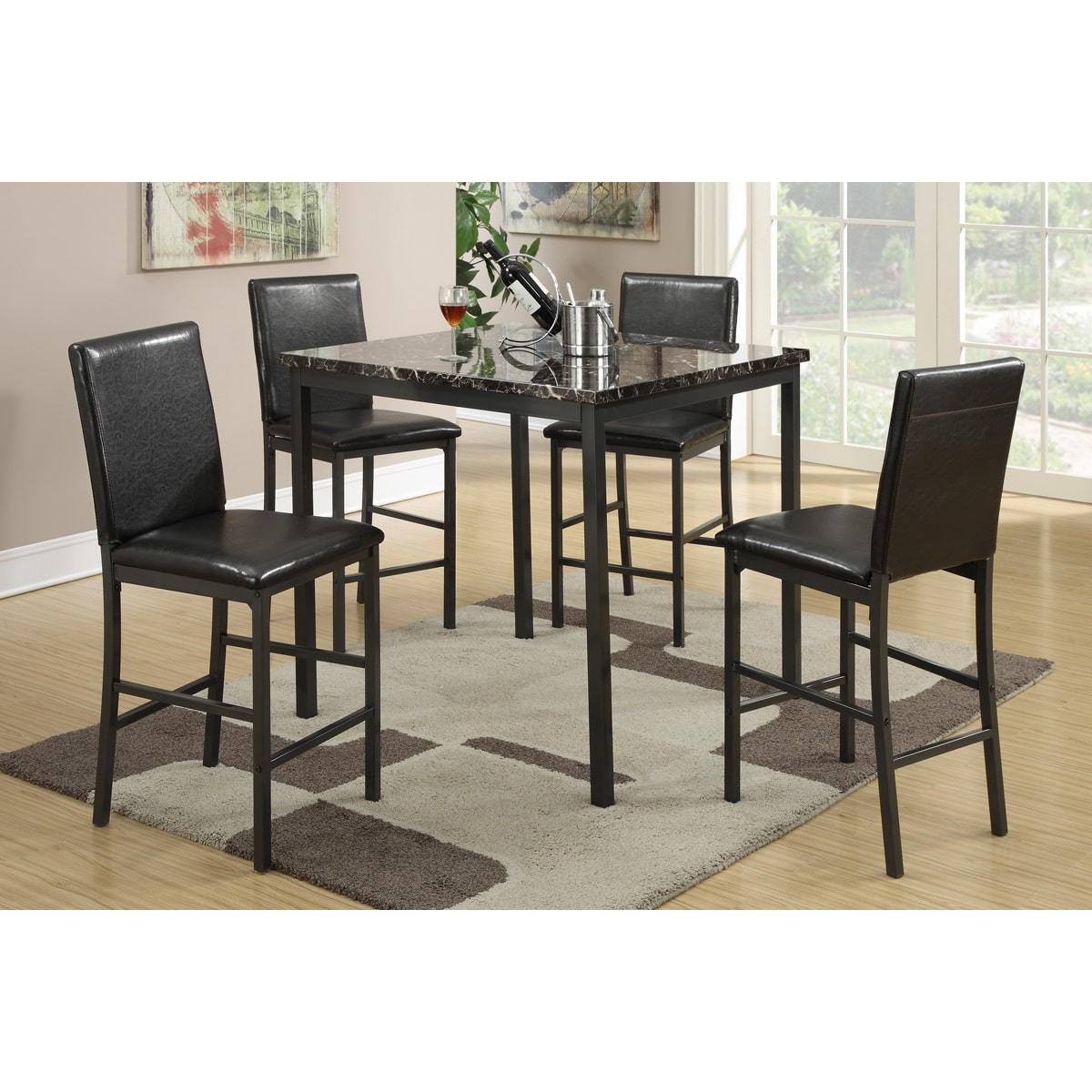 Poundex Brekstad Square Counter Height Dining Set (5 Piece)