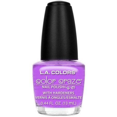L.A. Colors Color Craze Nail Polish with Hardeners, Purple Passion, 0.44