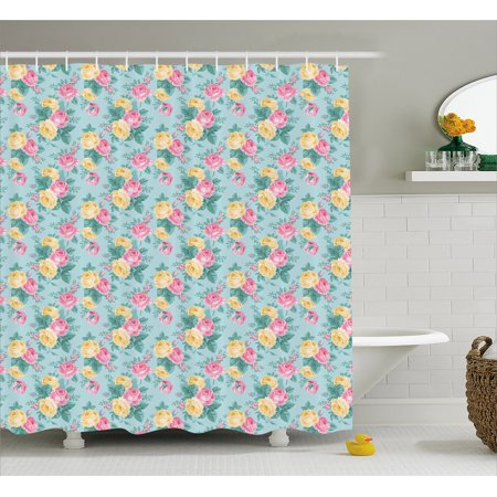 - Shabby Chic Shower Curtain, Colorful Roses Vegetation in the Summer with Leaves Bridal, Fabric Bathroom Set with Hooks, 69W X 75L Inches Long, Pale Pink Yellow Turquoise, by Ambesonne