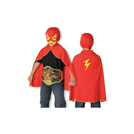 Childs Wrestler Wrestling WWE Costume Lucha Libre Mask and Cape Play Set (Sumo Wrestler Halloween Costumes)