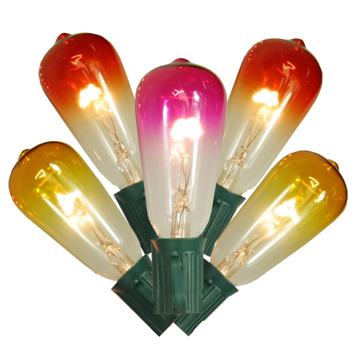 Set of 10 Transparent Summer Sunset Ombre ST40 Edison Christmas Lights - Green Wire