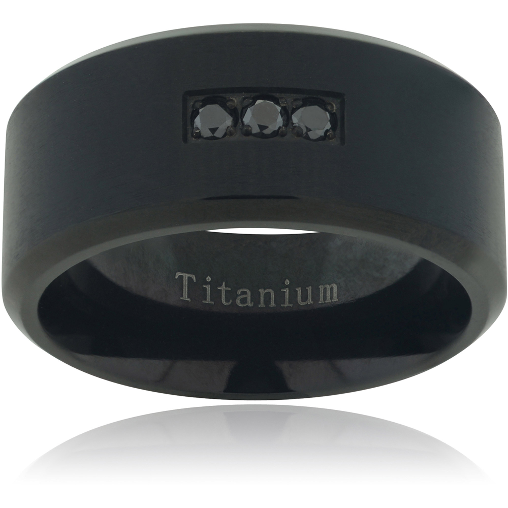 Daxx Men's 1/10 Carat T.W. Black Diamond Accent Titanium Matte Fashion Ring