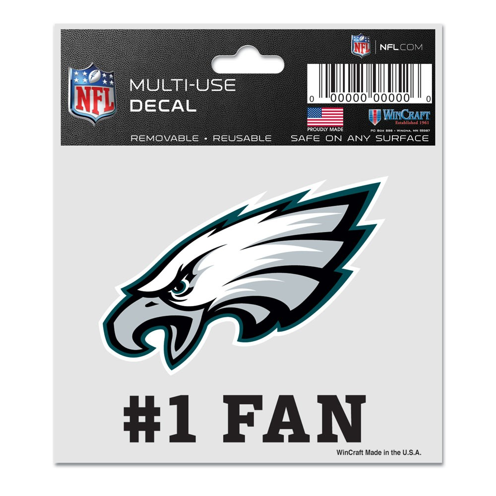 Philadelphia Eagles Official NFL 3 inch x 4 inch  Car Window Cling Decal by Wincraft