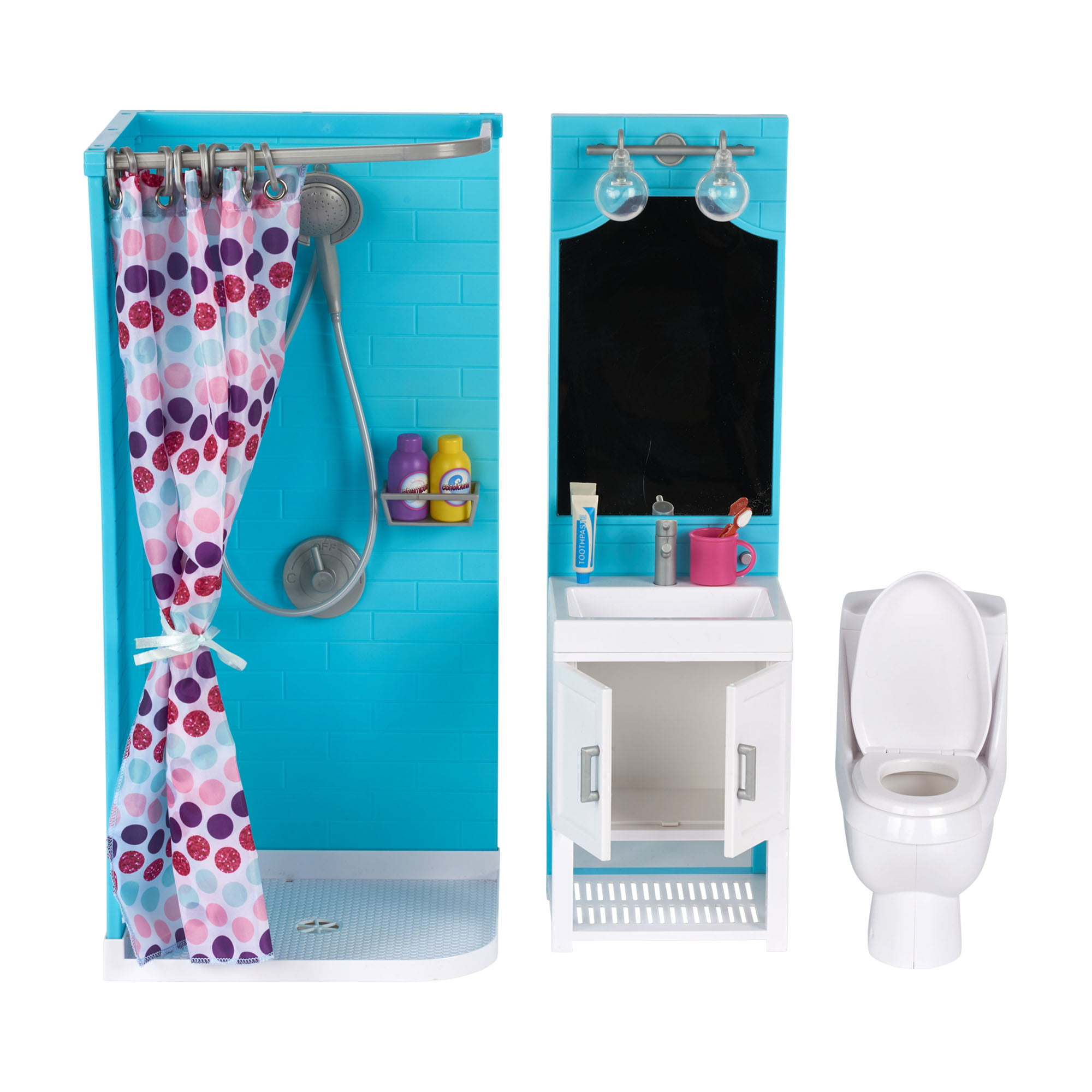 "my life as bathroom play set with shower and light-up vanity for 18"" doll,  17 pieces"