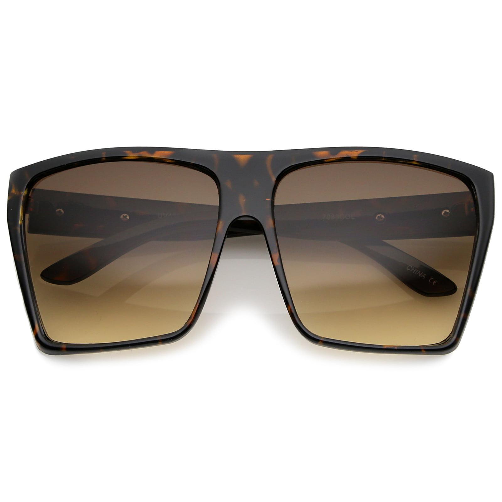 sunglassLA - Oversize Flat Top Metal Temple Accent Gradient Lens Square Sunglasses 62mm - 62mm