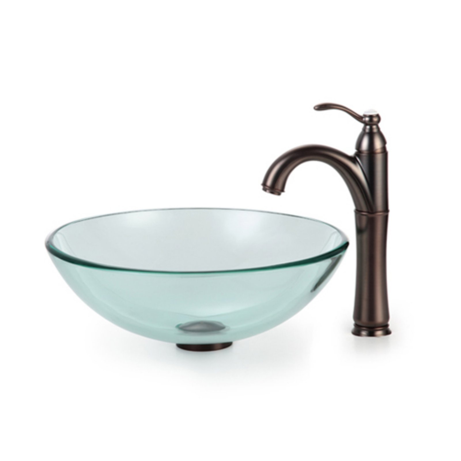 Kraus C GV 101 12mm 1005 Clear Glass Vessel Sink And Riviera
