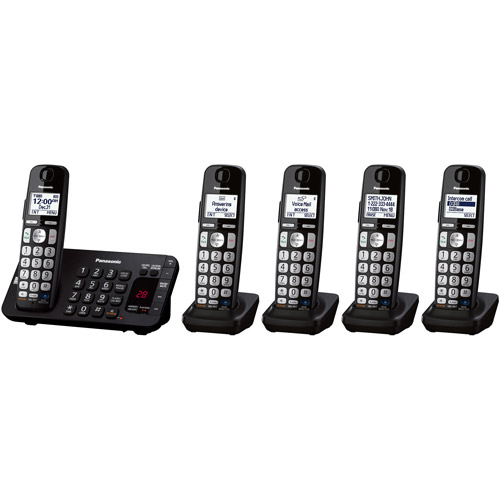 Panasonic KX-TGE245B Expandable Digital Cordless Answering System with 5 Handsets