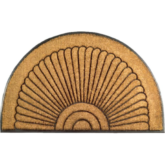 Imports Decor 705RBCM 30'' x 18'' Half-Round Rubber Back Coir Doormat  Sunrise