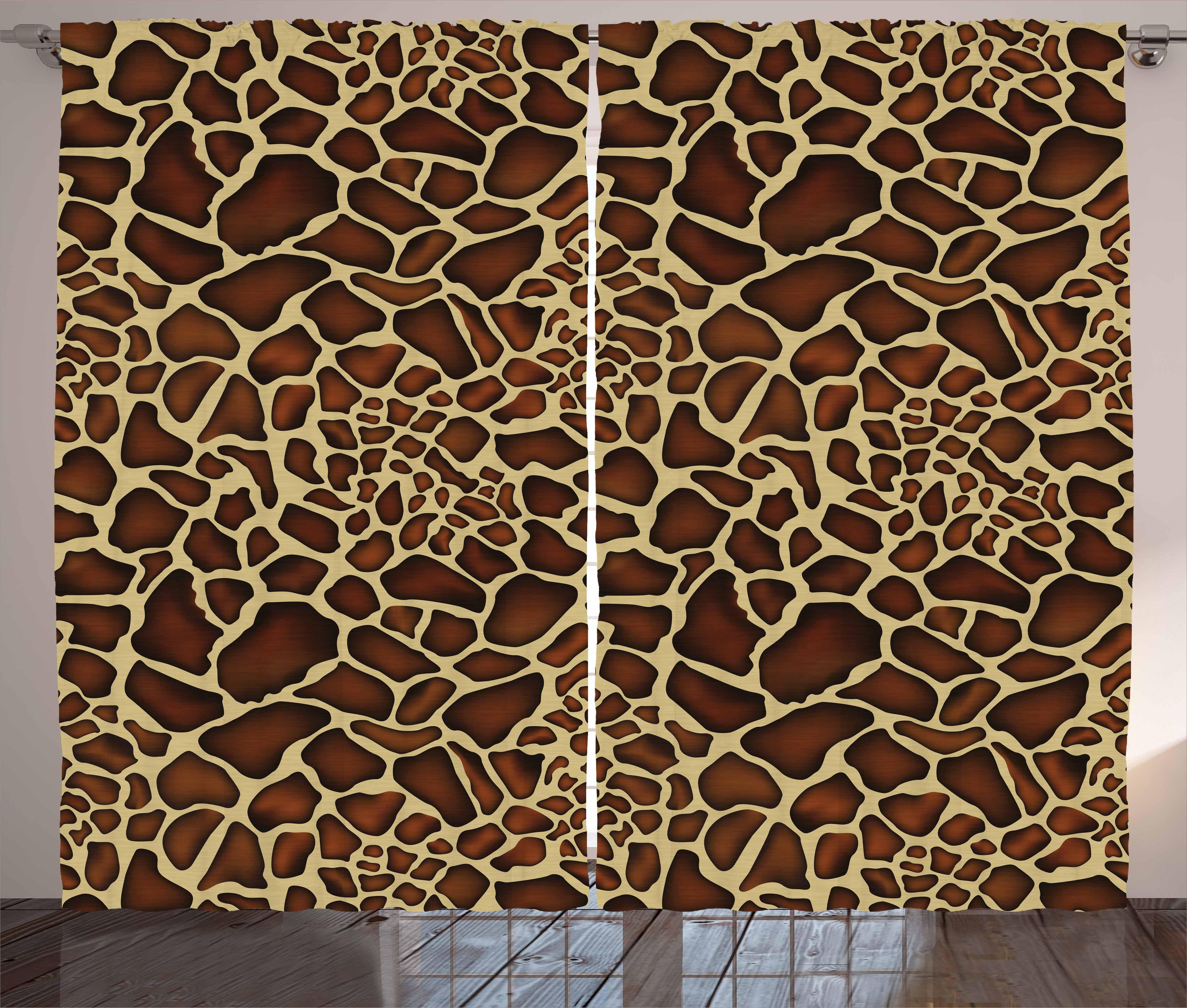 Zambia Curtains 2 Panels Set Giraffe Skin Pattern