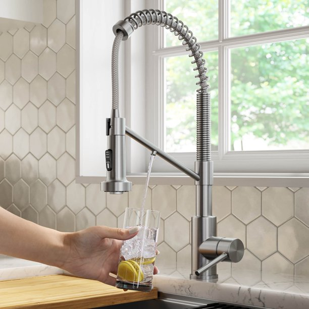 Kraus Bolden 2 In 1 Commercial Style Pull Down Single Handle Water Filter Kitchen Faucet For Reverse Osmosis Or Water Filtration System In Spot Free Stainless Steel Walmart Com Walmart Com