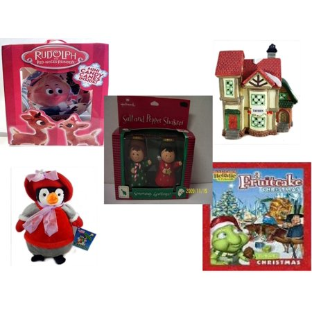 Christmas Fun Gift Bundle [5 Piece] - Rudolph Red-nosed Reindeer Fillable Xmas Ornament -  Village