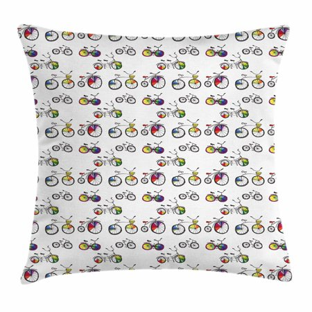 Bicycle Throw Pillow Cushion Cover, Hand Drawn Penny-Farthing Tandem and City Bikes with Colored Rims Cartoon Style, Decorative Square Accent Pillow Case, 20 X 20 Inches, Multicolor, by Ambesonne