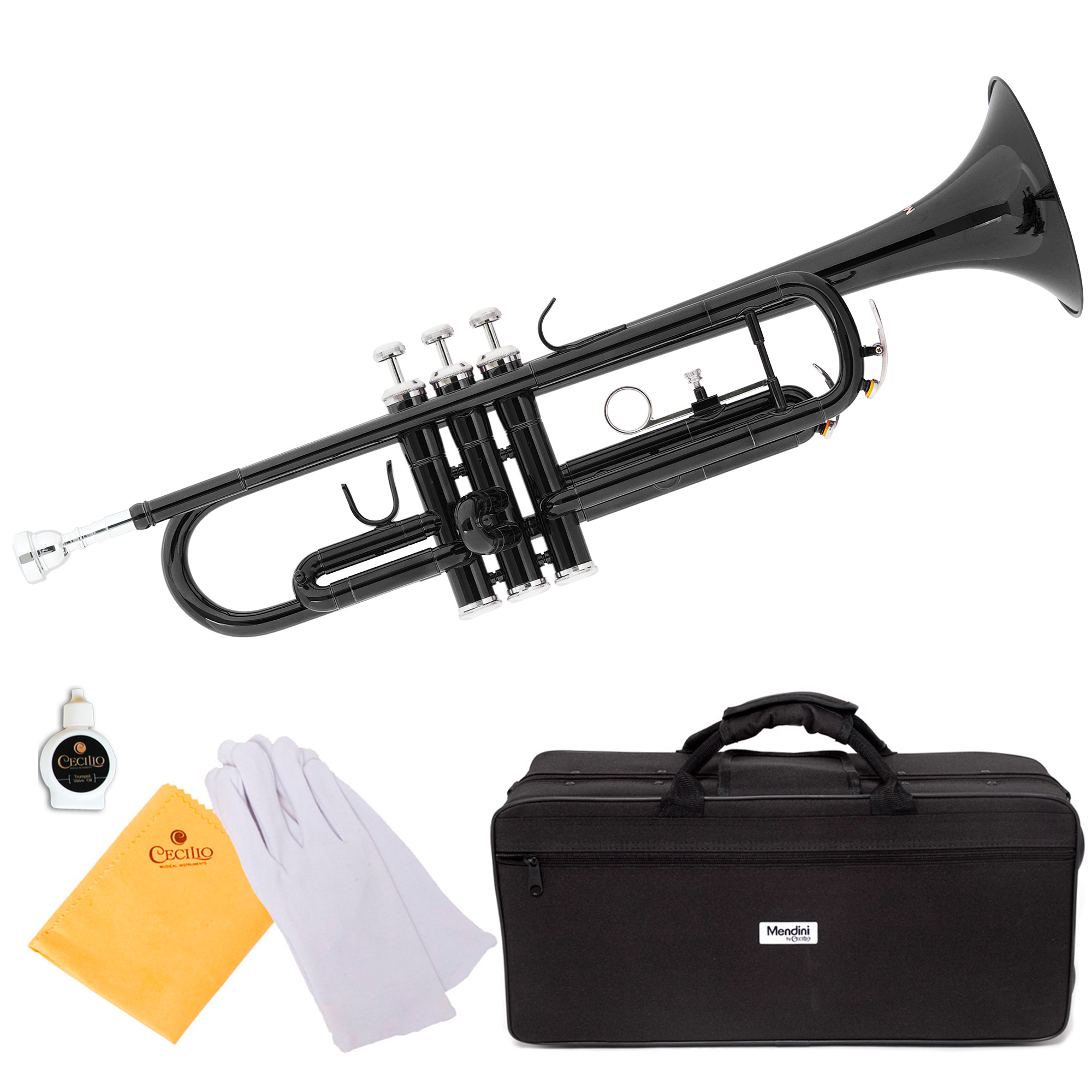 Mendini by Cecilio MTT-BK Black Lacquer Brass Bb Trumpet with Durable Deluxe Case and 1 Year Warranty