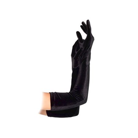 Women's Velvet Opera Length Gloves, Black, One - Opera Length Gloves