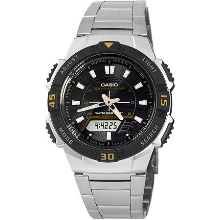 Casio men 39 s slim solar powered watch stainless steel for Solar power watches