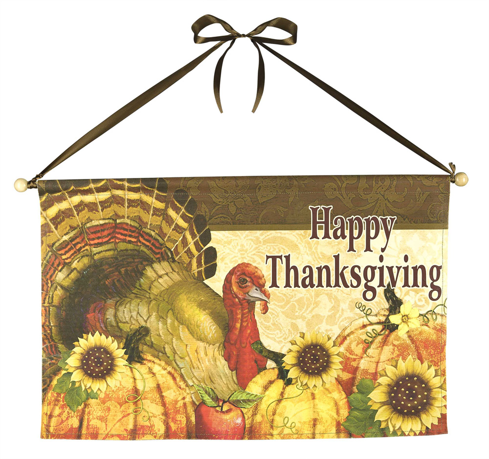 Happy Thanksgiving Flag w/ Rod  Autumn Thanksgiving Garden Flag