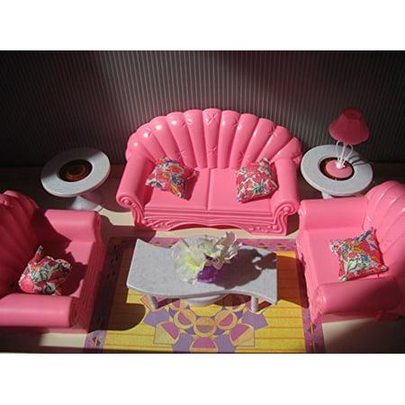 Barbie Size Dollhouse Furniture- Living Room Set - Walmart.com