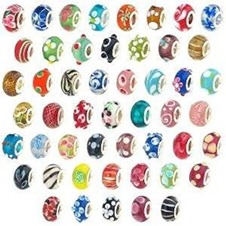 20 Pc Lot Lampwork Murano Glass European Mix Beads For Snake Chain Charm Bracelet - Charms For A Charm Bracelet