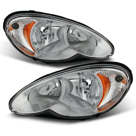 Cruiser Chrome Headlight - Fit 2006-2010 Chrysler PT Cruiser Replacement Headlights Lamps Left+Right Pair