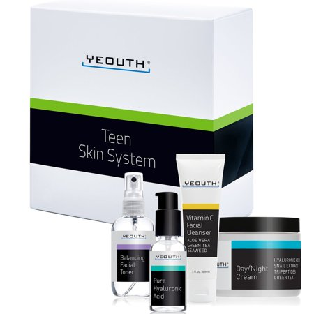 YEOUTH Teen Skin Kit Starter Set - Anti Aging Beauty Essentials - Vitamin C Facial Cleanser - Balancing Facial Toner for Face - Pure Hyaluronic Acid Serum - Day and Night Snail Cream