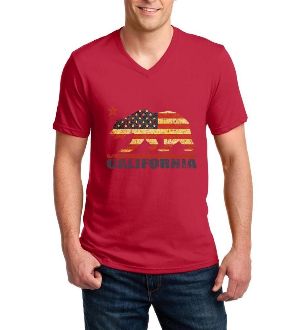 J_H_I California Americana Bear Gift for Hollywood CA USA Flag 4th of July Men V-Neck Shirts Ringspun