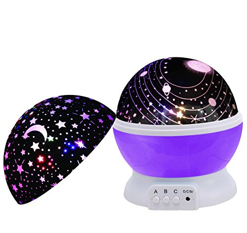 Baby Night Light,SCOPOW Dimmable Rotation Night Lamp Rotating Universe Sky Moon Sun Star Night Lighting Nursery Projector Gift for Decor Kids Bedroom Sleepy (Purple)