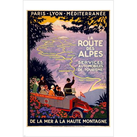 The French Alpine Road Vintage Travel Poster 24X36 Colorful