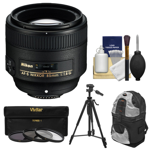 Nikon 85mm f/1.8G AF-S Nikkor Lens with 3 UV/CPL/ND8 Filters + Backpack Case + Tripod + Kit for D3200, D3300, D5200, D5300, D7000, D7100, D610, D800, D810, D4s DSLR Cameras