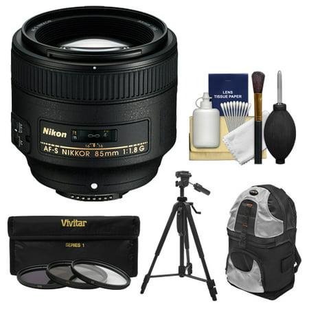 Nikon 85mm f/1.8G AF-S Nikkor Lens with 3 UV/CPL/ND8 Filters + Backpack Case + Tripod + Kit for D3200, D3300, D5200, D5300, D7000, D7100, D610, D800, D810, D4s DSLR