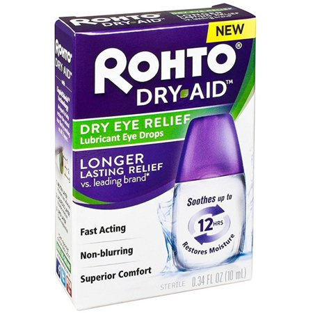 2 Pack - Rohto Dry Aid Dry Eye Relief Lubricant Eye Drops 0.34