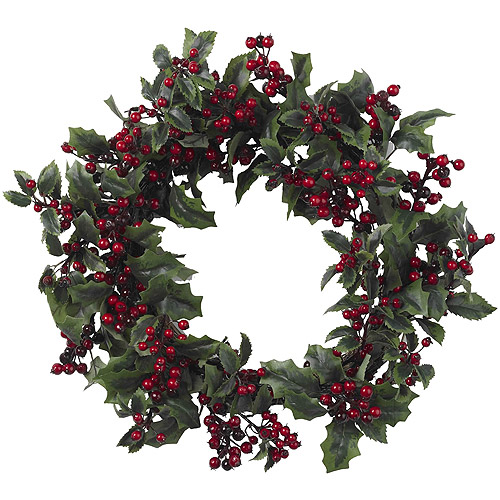 Nearly Natural Holly Berry Wreath